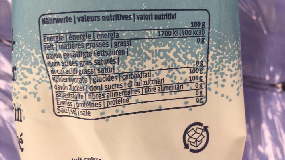 Zucchero fino cristallizzato - Valori nutrizionali - it