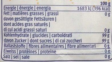 Sucre de canne brut - Valori nutrizionali - fr