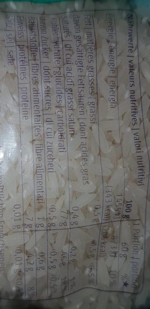 Carolina, Riz à grain long - Valori nutrizionali - fr