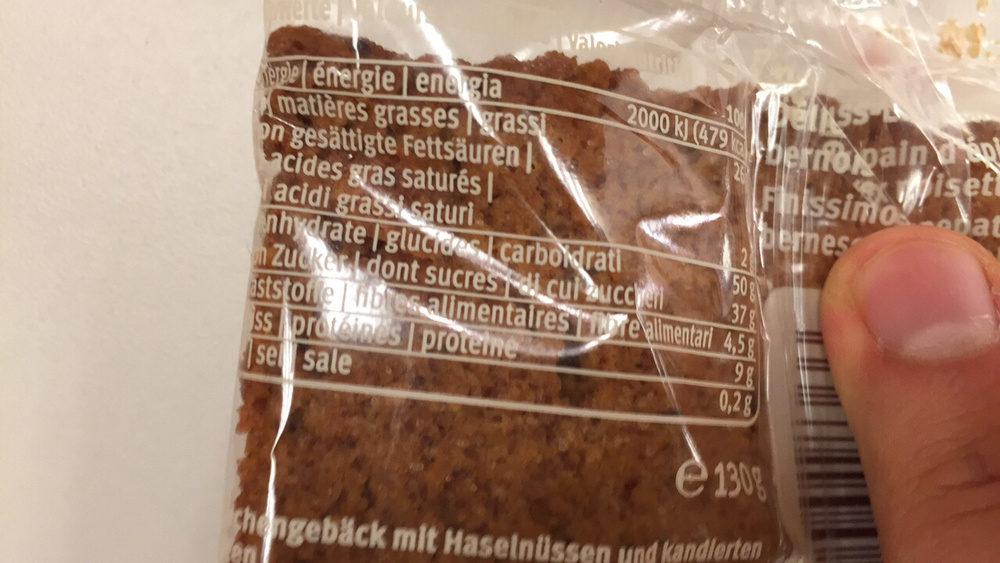 Haselnuss Lebkuchen - Nutrition facts