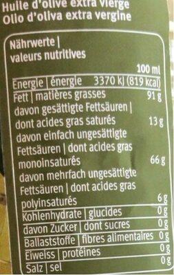 Huile d'olive Extra vierge - Nährwertangaben - fr