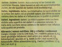 Dates - Valori nutrizionali - fr