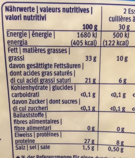 Le Gruyère Switzerland A.O.P., râpé - Nutrition facts