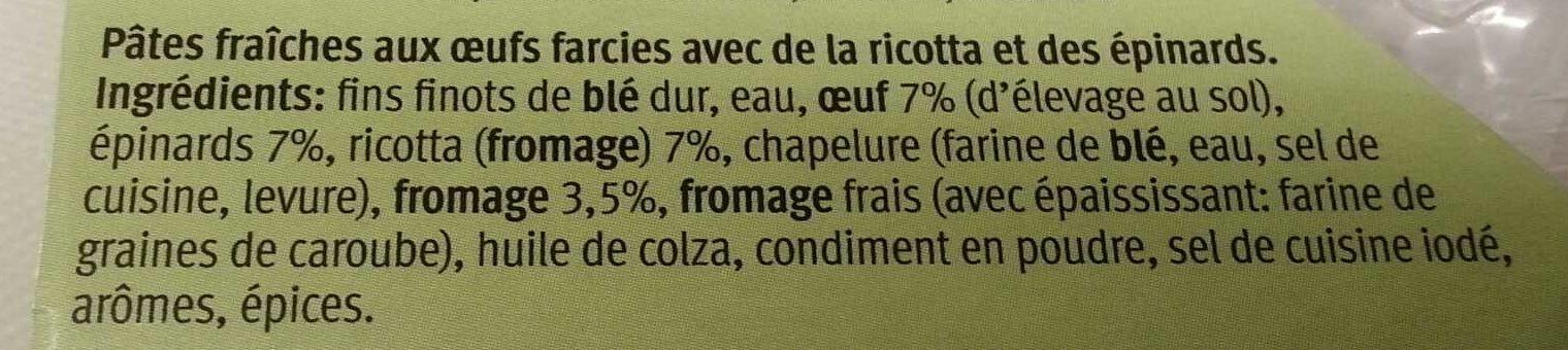 Tortelloni ricotta e spinaci - Ingredients