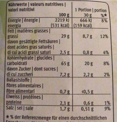 Kroepoek - Chips aux crevettes - Valori nutrizionali - fr