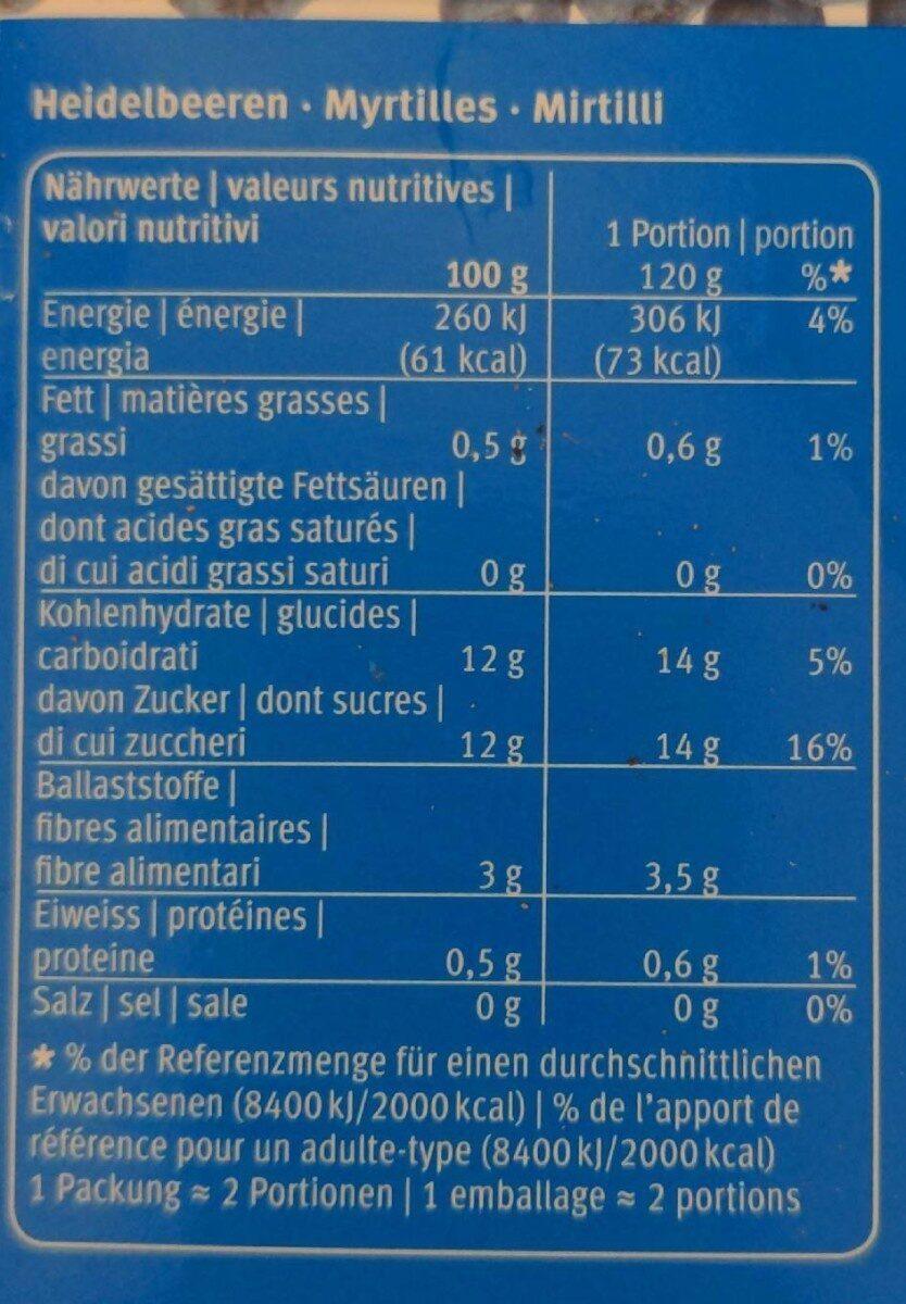 Myrtilles sauvages - Informations nutritionnelles - fr