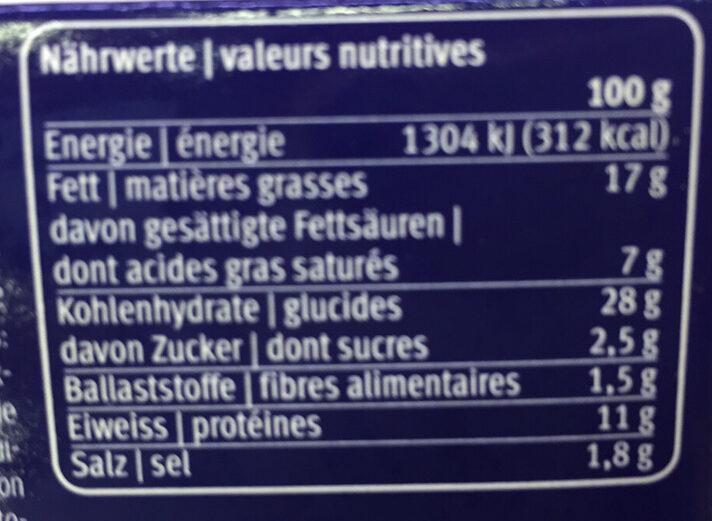 Pastete - Voedingswaarden - fr