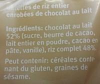 Galettes de Riz Complet Chocolat au Lait - Ingrédients - fr