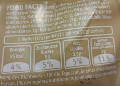 Galettes de Riz Complet Chocolat au Lait - Valori nutrizionali - fr