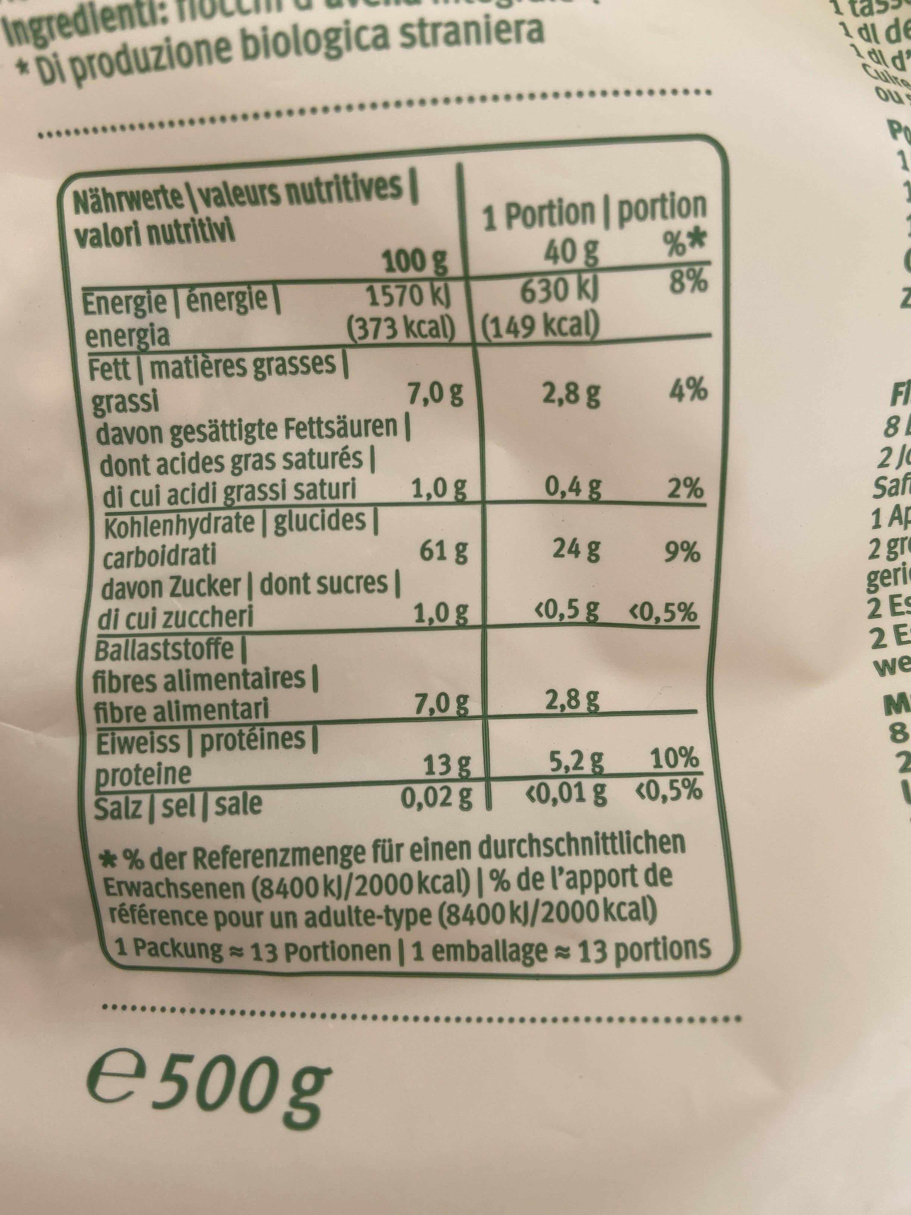 Flocons d'avoine complets - Informations nutritionnelles - fr