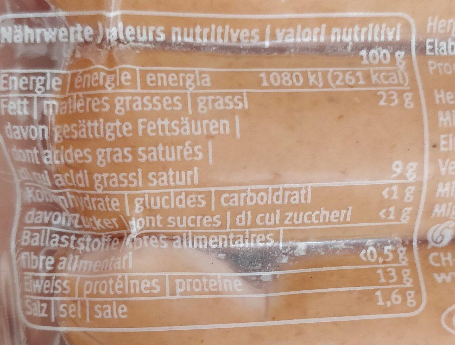 Knackerli - Voedingswaarden - fr