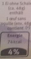 6 œufs suisses - Voedingswaarden - fr