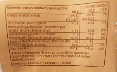Wedges - 营养成分 - fr