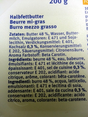 Beurre mi-gras - Ingrédients - fr