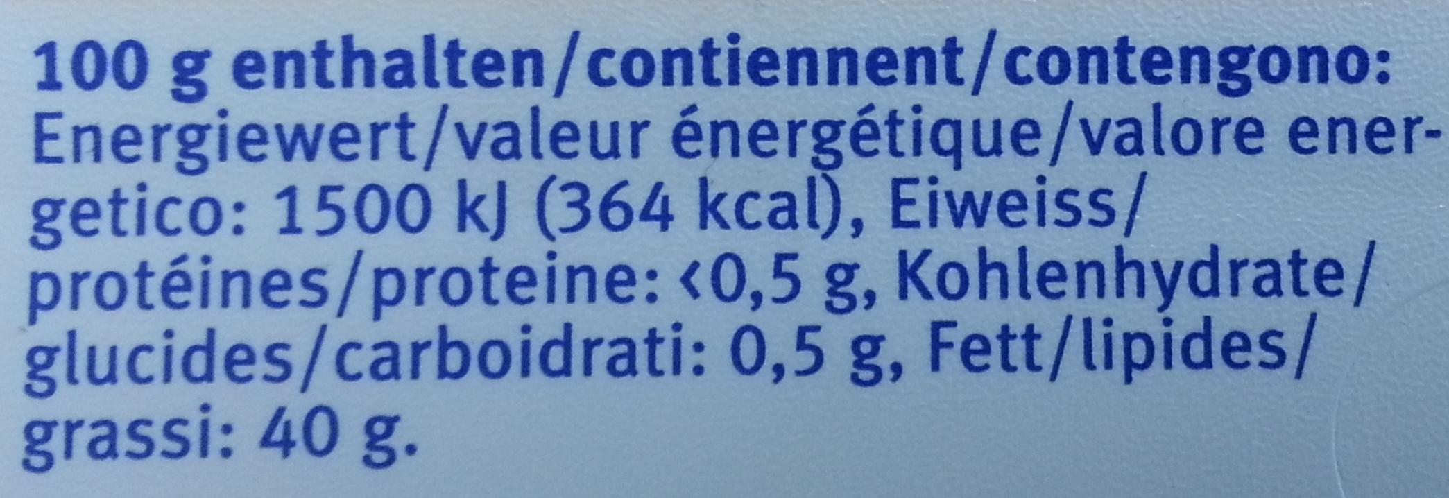 Beurre mi-gras - Informations nutritionnelles - fr