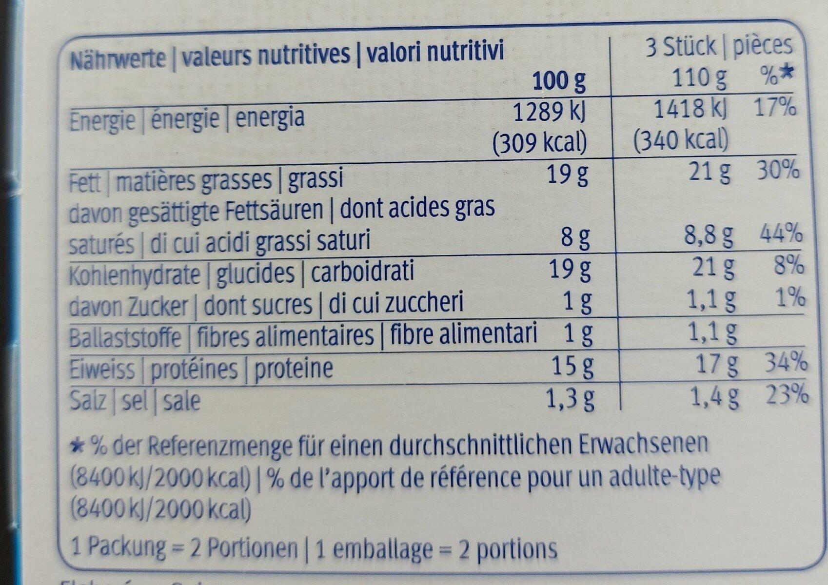 Mozzarella sticks - Valori nutrizionali - fr
