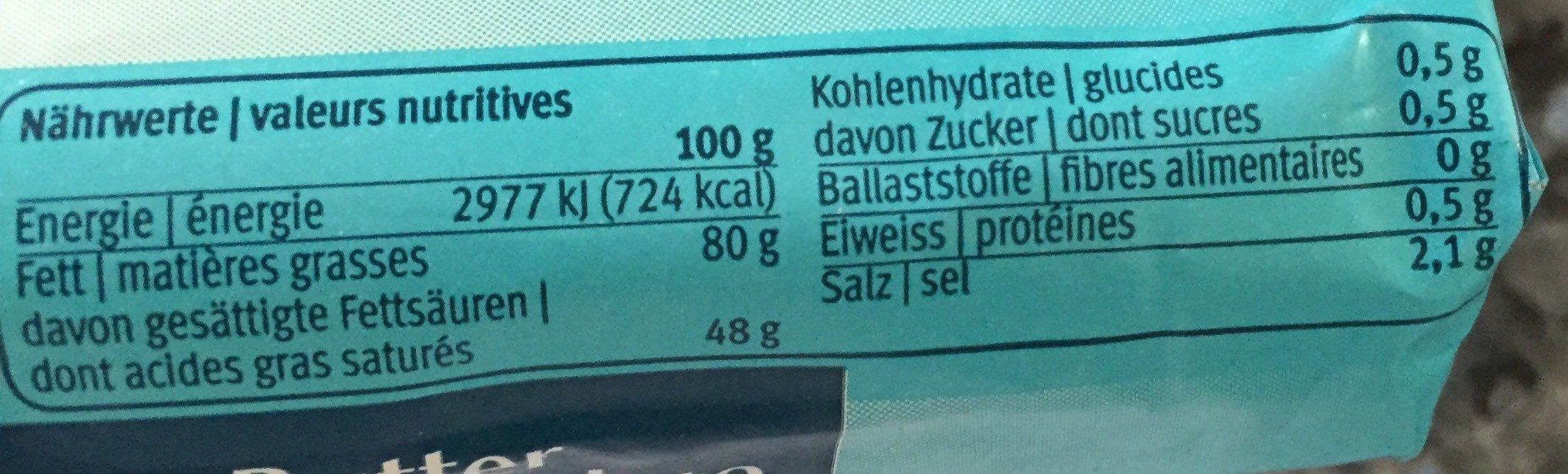 Beurre Salé - Voedingswaarden