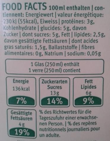 Lait Drink Past BIO - Voedingswaarden - fr