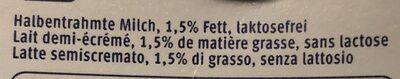 Lait sans Lactose - Ingrédients - fr