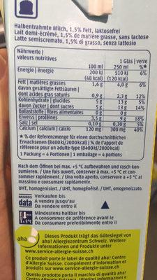 Lait sans Lactose - Informations nutritionnelles - fr