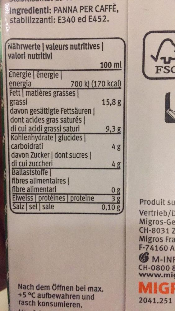 Crème à café - Nutrition facts