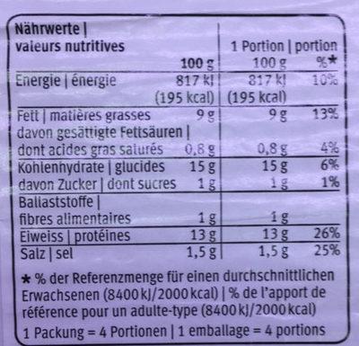 Poulet sticks - Voedingswaarden - fr