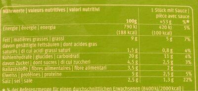 Vegetable spring rolls - Voedingswaarden