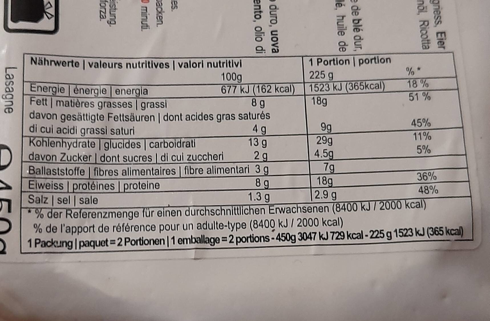 Lasagne - Valori nutrizionali - fr