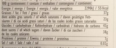 Mint-Moringa dark - Voedingswaarden