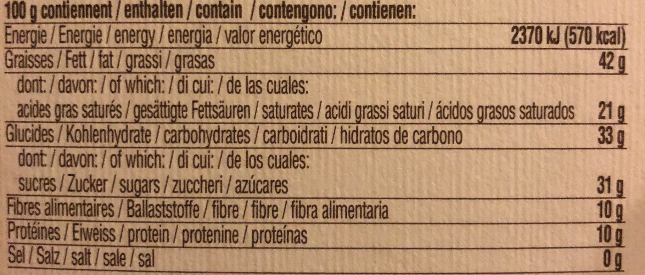 Milk Chocolate Whole Hazelnuts Agave Nectar - Voedingswaarden - fr