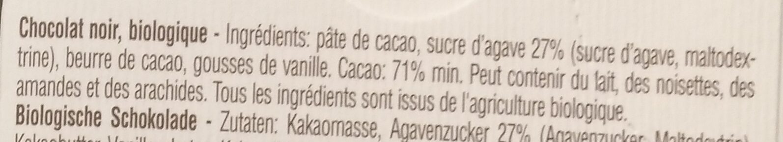 Agave Nectar, Cacao 71%, Bio & Fair - Ingredients - fr