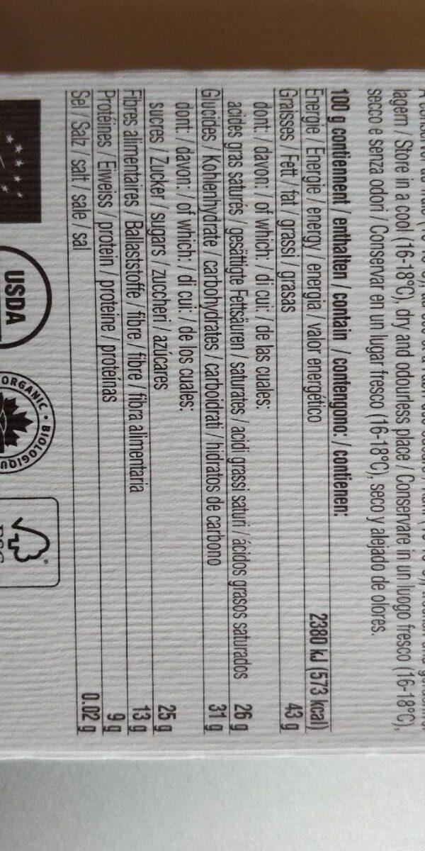 Agave Nectar, Cacao 71%, Bio & Fair - Nutrition facts - fr