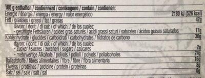 Noir noisettes - Voedingswaarden