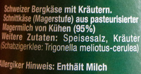 Schabziger Stöckli - Inhaltsstoffe