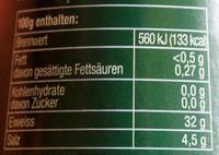 Schabziger Stöckli - Nährwertangaben