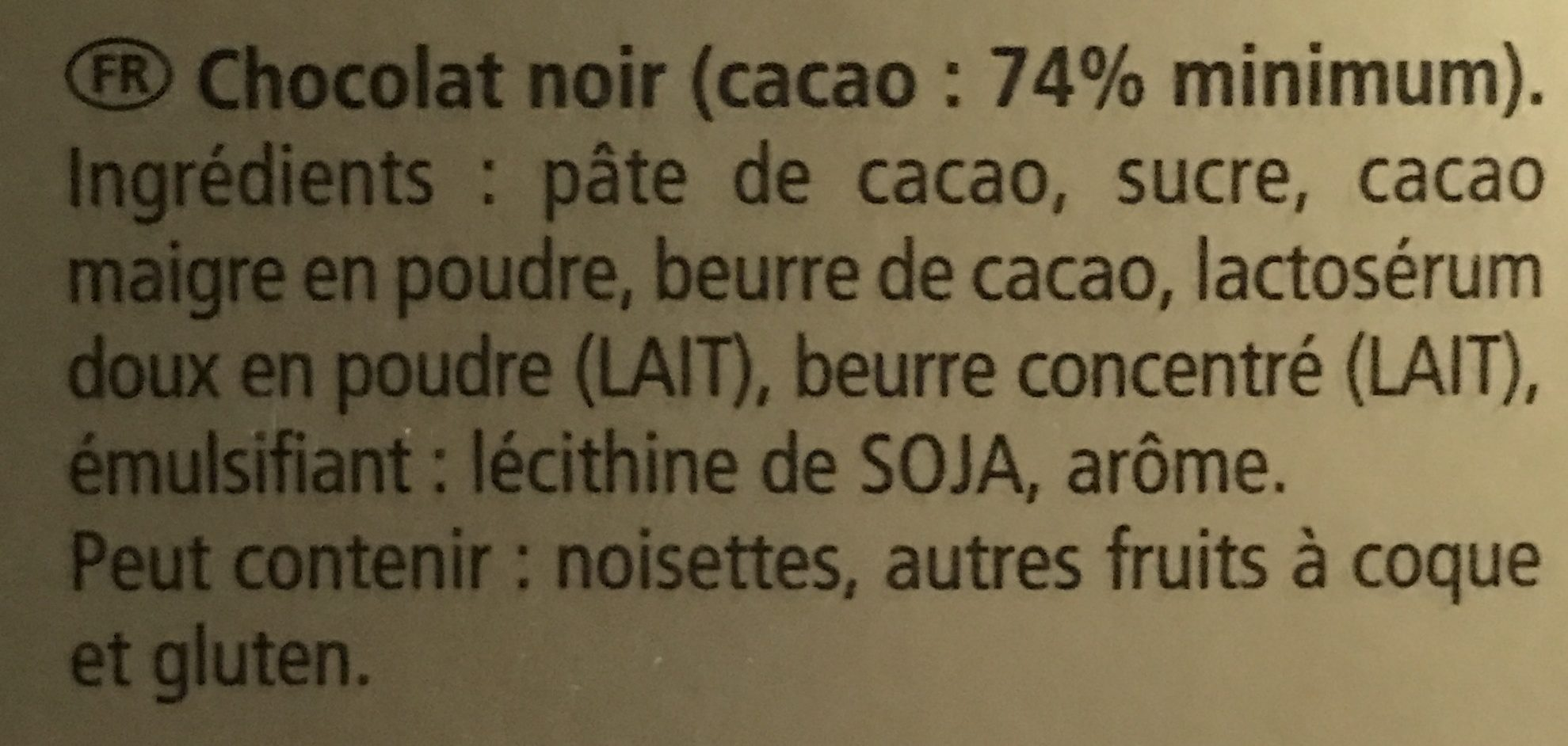Chocolat noir - Ingredients