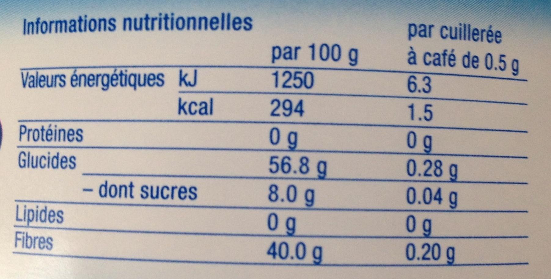 Edulcorant poudre sans aspartame - Nutrition facts - fr