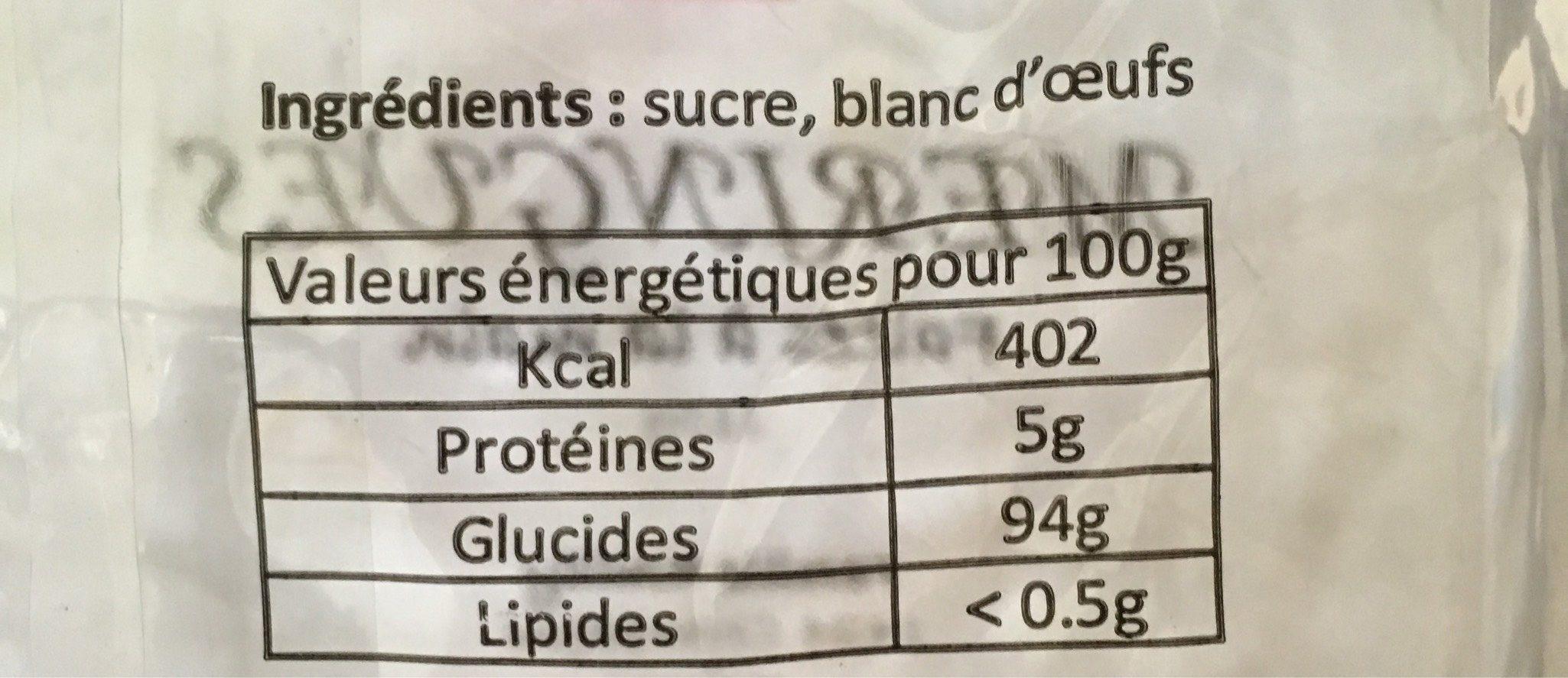 Meringues - Informations nutritionnelles - fr