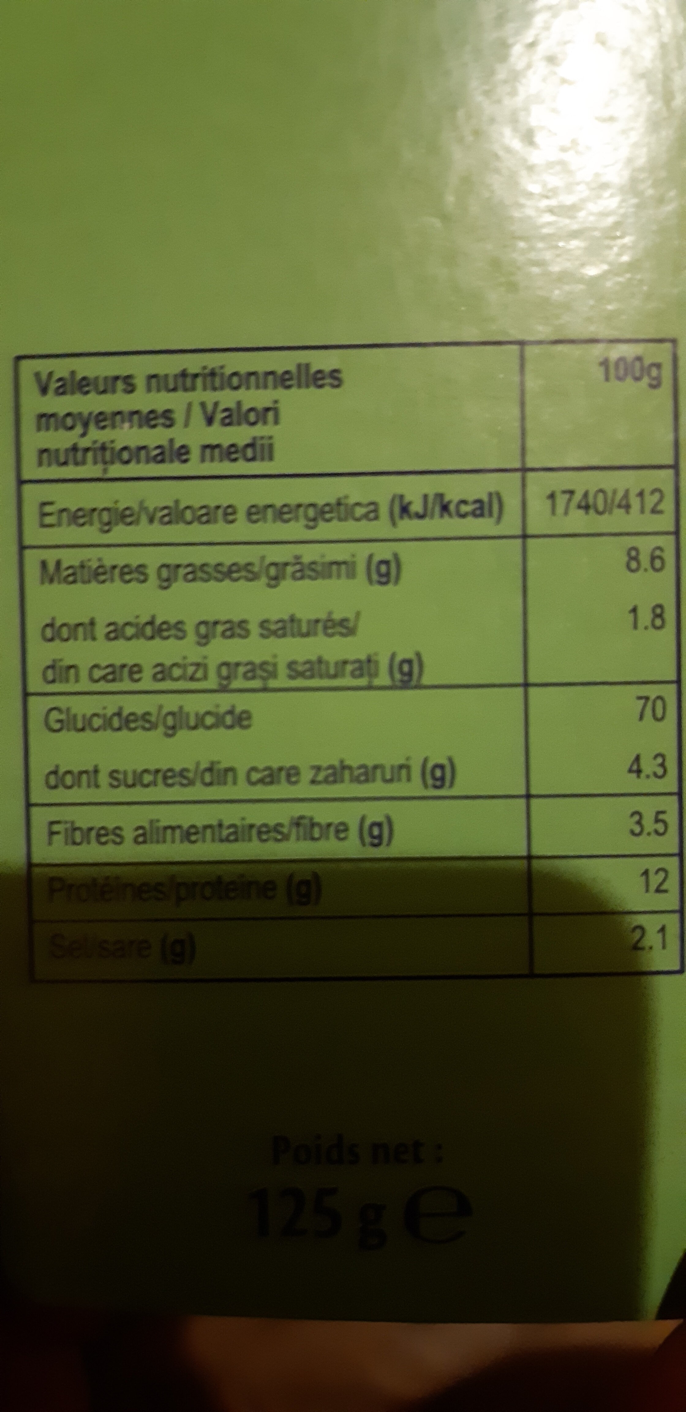 gressins - Nutrition facts - ro