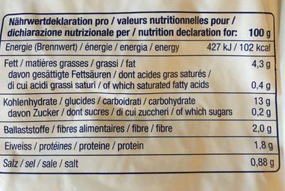 Original Rösti - Informations nutritionnelles - fr