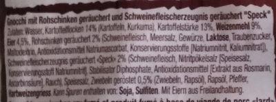 Pfannen Gnocchi - Inhaltsstoffe