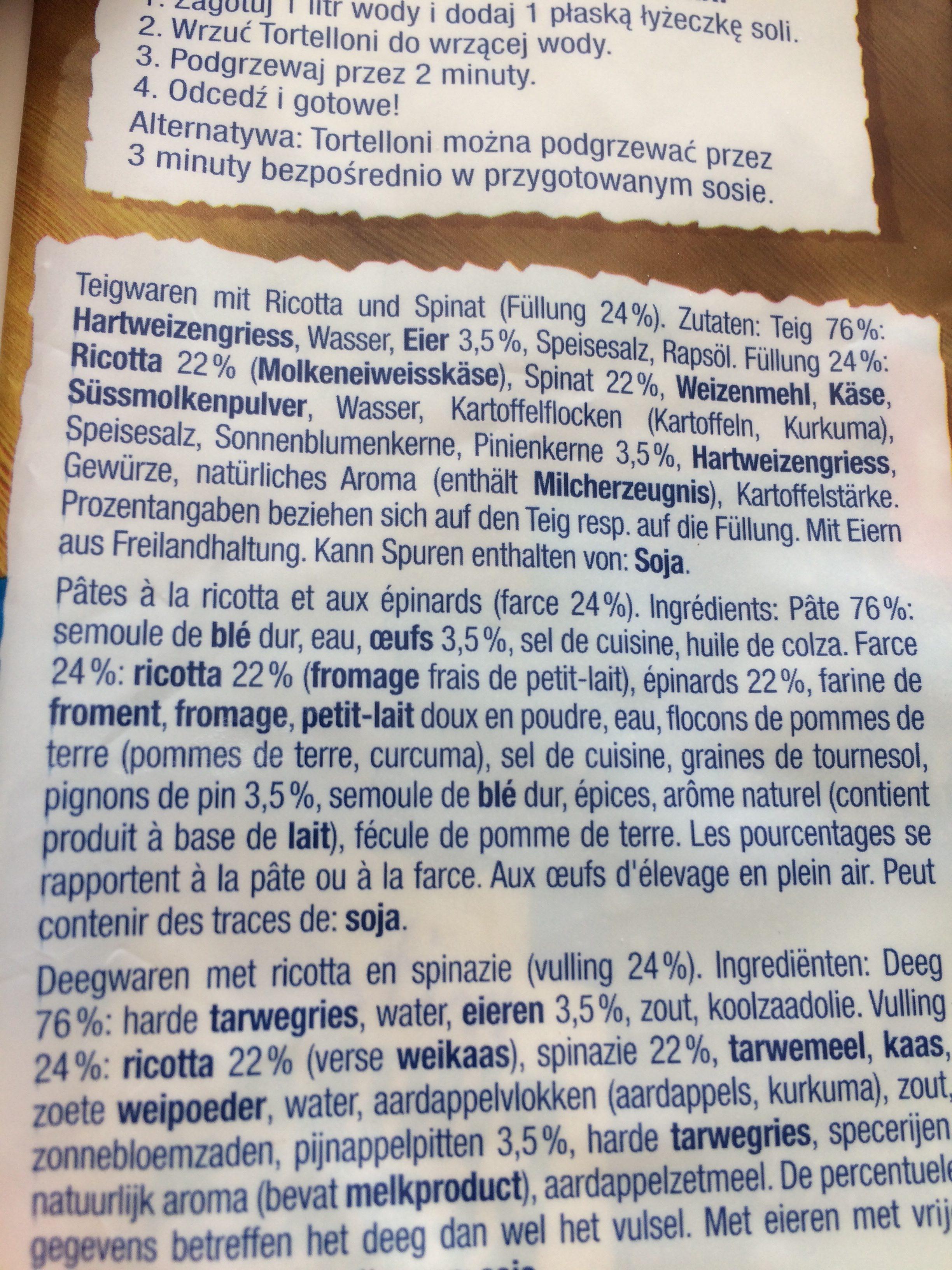 Tortelloni Ricotta E Spinaci - Ingredienti - fr