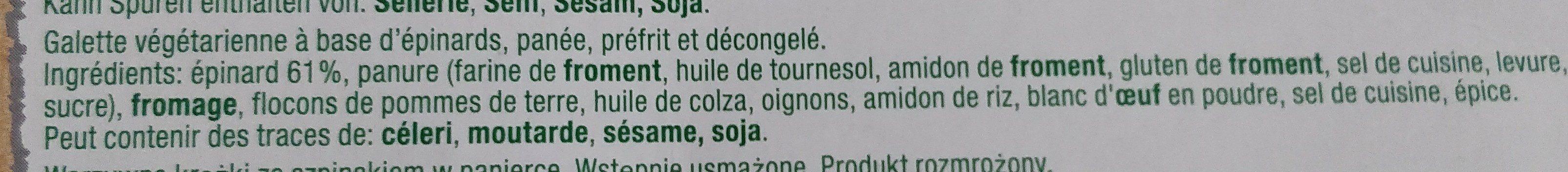 Hilcona Veggie Gemüse medaillons Spinat - Ingrédients