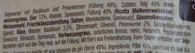 Tortelli pesto basilico - Ingredients