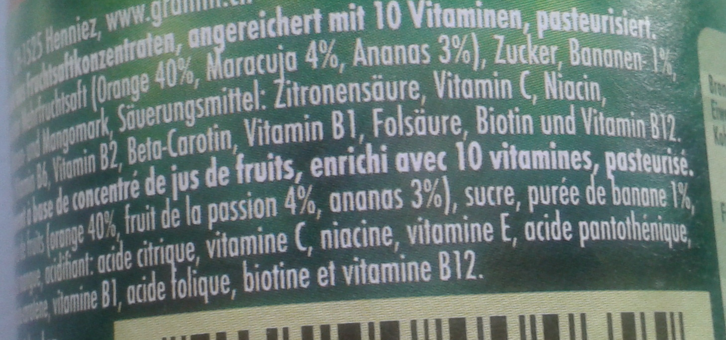 Cocktail de fruits - Ingredients