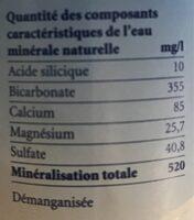 Arkina eau minérale naturelle non gazeuse - Nutrition facts - fr