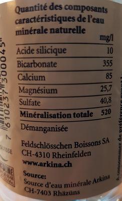 Arkina, Natürliches Mineralwasser - Nutrition facts