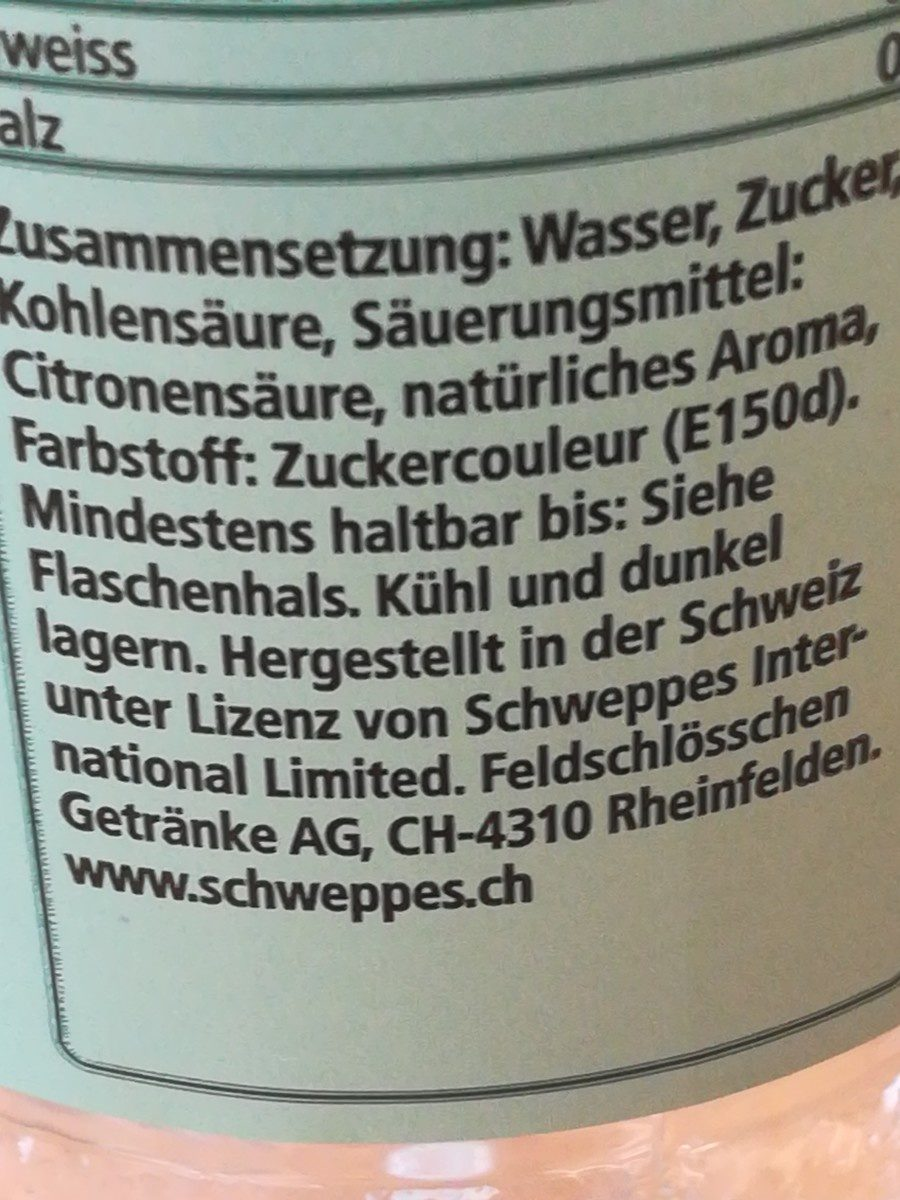 Schweppes Ginger Ale - Ingredienti - fr