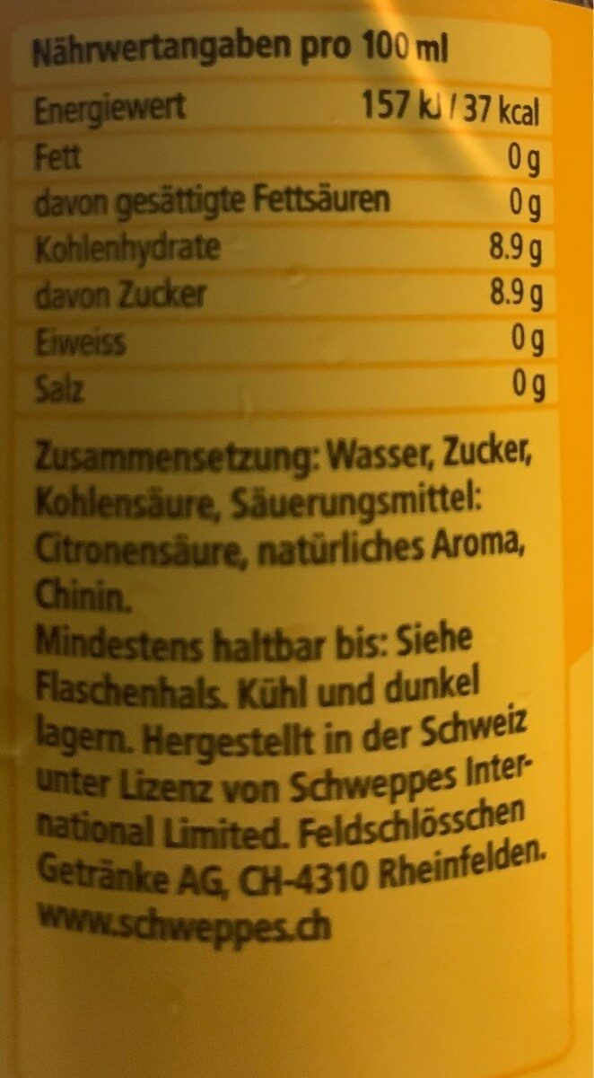 Schweppes indian tonic - Valori nutrizionali - fr