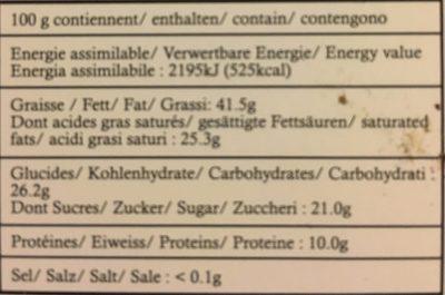 Chocolat Noir 74% - Informazioni nutrizionali